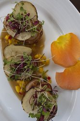 Bacon wrapped Scallops with a Mango Relish