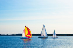 Sailboats coming to the port of Oxford from the Chesapeake Bay