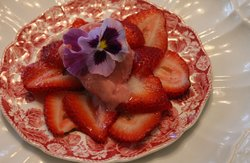 Strawberries And Sorbet With Viola