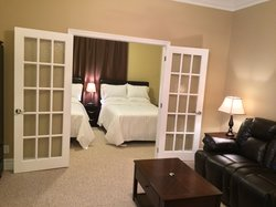 Beautiful French Doors Separate Bed & Living Room