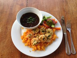 Achiote Rice and Shrimp with Black Beans
