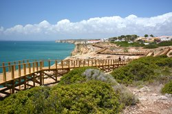 Carvoeiro Boardwalk along the cliffs of Algar Seco