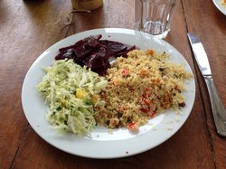 Moroccan Couscous with a Cabbage and Pineapple Slaw and a Beet and Cilantro Salad with a Lime Vinaigrette