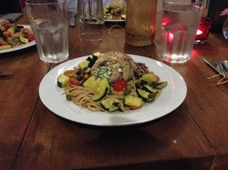 Mint and Feta Stuffed Sea Bass with roasted vegetables over whole wheat pasta