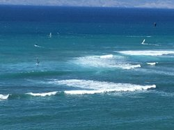 Kite surfers viewed from lanai