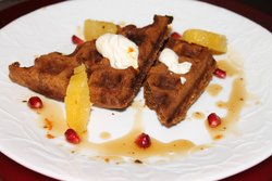 Gingerbread Waffles With Orange Ginger Sour Cream