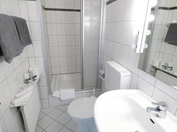 Hotel Alt Büttgen Kaarst Double room classic shower room with light mirror