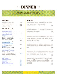 The Full Circle Eatery Dinner Menu