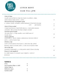 The Full Circle Eatery  Lunch Menu