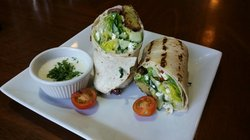 Farfalle Veggie Wrap with cucumbers, tomatoes, onions, olives, and feta cheese