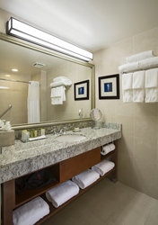 Spacious counters and 2nd vanity in the guest room