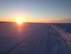 Sun Rise on Great Slave Lake Ice Road just 5 Minutes away from Embleton House