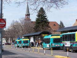 Buses Queue In Missoula, Montana