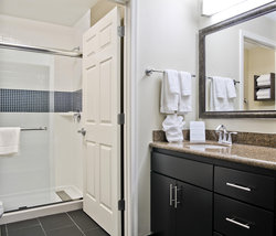 Vanity area and bathroom with shower