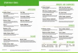 Twelve Fifty Bar & Grill Sample Menu