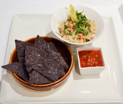 White Quinoa Salad with Blue Corn Chips