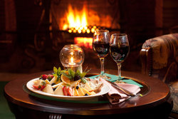 Lounge Fireplace Wine Cheese