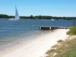 Our Private Beach with Sailboat Views