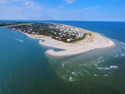 Aerial shot of Tybee South Beach
