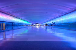 Light Tunnel At Detroit Airport