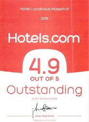 Hotels.com Outstanding 4.9 OUT OF 5 Bewertung 2015