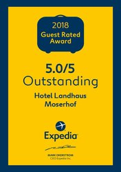 Expedia 2018 Guest Rated Award - Outstanding 5.0 OUT OF 5