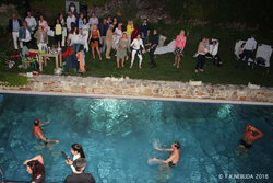 Dance and party at the outdoor pool side