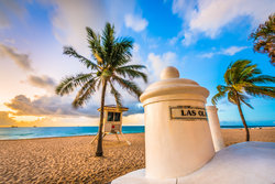 Beach post and palm trees in Fort Lauderdale