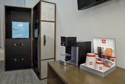 Illy coffee, mini fridge, microwave