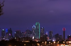 Usa Cityscape Texas Downtown Dallas Skyline Dusk