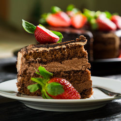 Chocolate Cake with Strawberries for Dessert