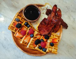Breakfast with Bacon and Waffle