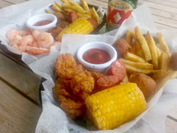 Food Baskets of Shrimp, Corn, and Fries