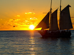 Mallory Square Boat At Sunset