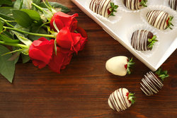 Roses And Chocolate Strawberries