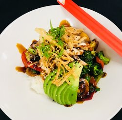 Chicken teriyaki and avocado