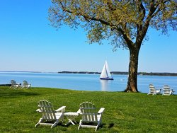 Waterfront Lawn - View with Sailboats - Sandaway Suites & Beach in Oxford, MD