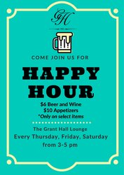 Teal Bordered Happy Hour Poster