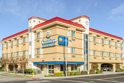 Exterior view of our hotel in San Bruno, California.