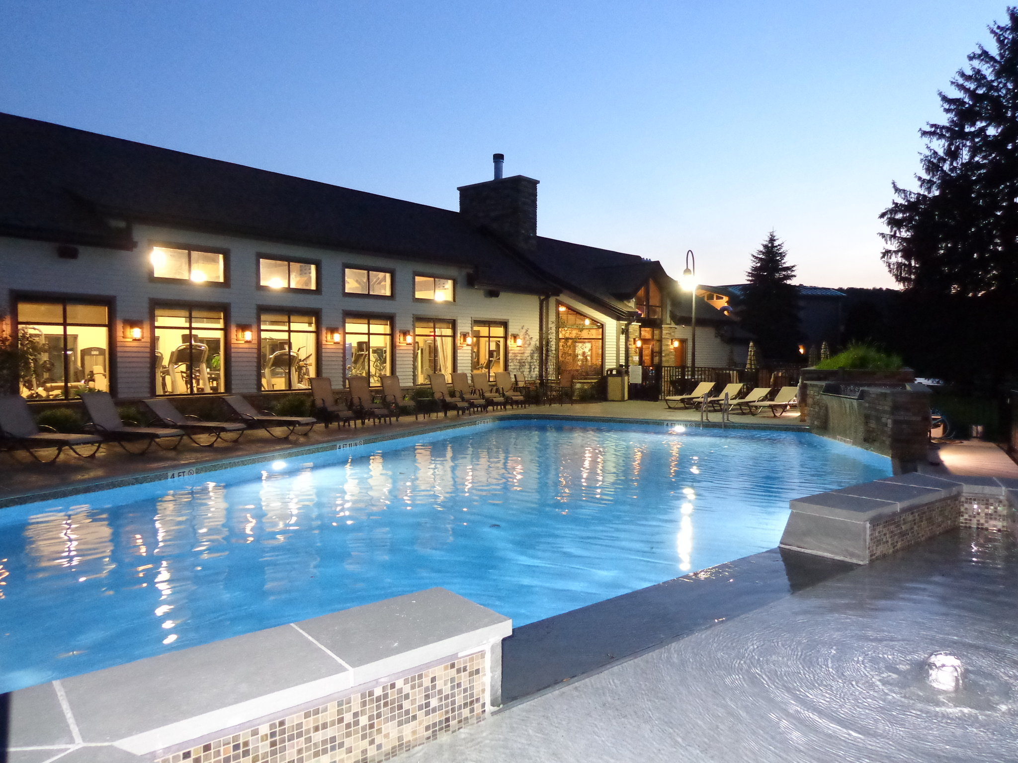 Pool View at Dusk