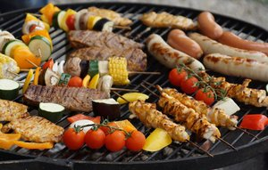Hot Dogs and Vegetables on the Grill - Local Favorites