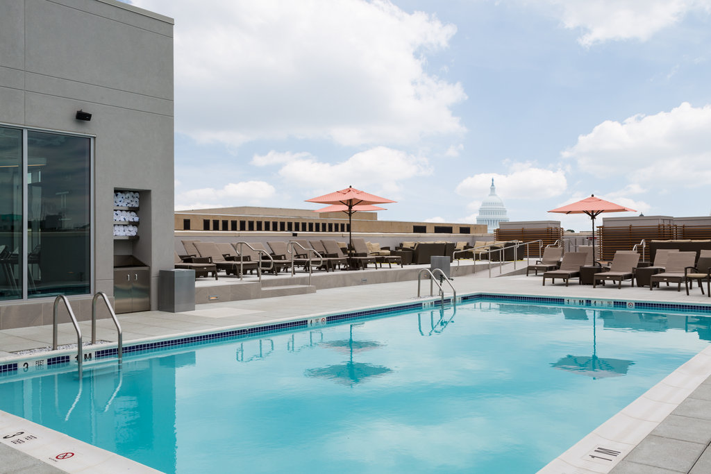 Rooftop Pool and Bar with a view of the Capitol