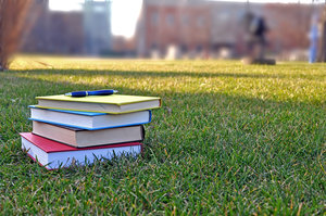 Books on Campus Grass
