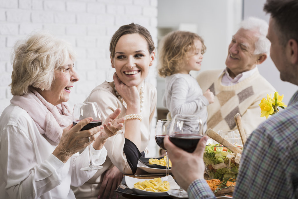 Multigenerational Family At Dining Table