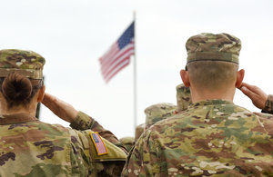 American Soldier Saluting Us Flag